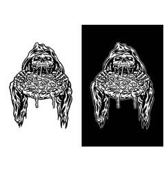 grim reaper eating pizza vector image