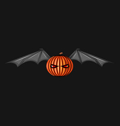 halloween character pumpkin with bat wings monster vector image