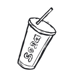 hand drawn soda drink on white background vector image