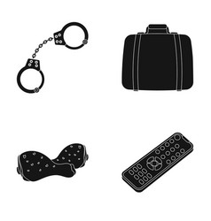 Handcuffs a suitcase and other web icon in black vector