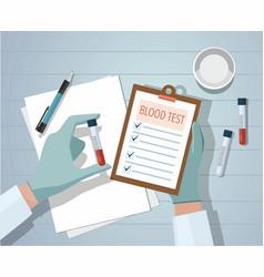 Hands a medical doctor holding blood sample vector