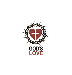 Heart crown thorns and cross vector