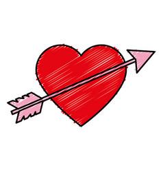 Heart love card with arrow vector