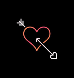heart with arrow line colorful icon vector image