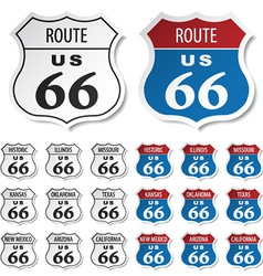 Historic route 66 stickers vector