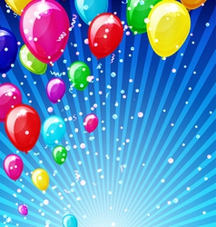 Holiday background with balloons and confetti vector image