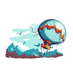 Hot air balloon flying in air vector