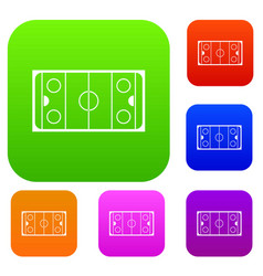 Ice hockey rink set collection vector