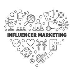 influencer marketing heart outline vector image