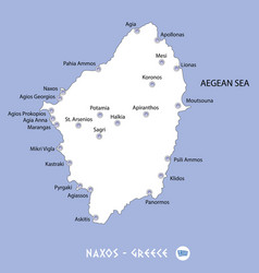 island of naxos in greece white map and blue vector image
