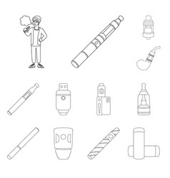 Isolated object nicotine and filter symbol set vector