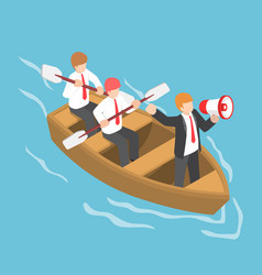 Isometric businessman in rowing team with leader vector