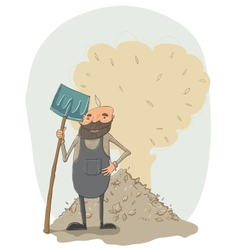 Janitor with a shovel vector