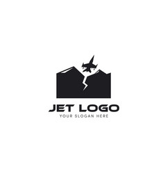 Jet logo trying to fly from mountain logo vector