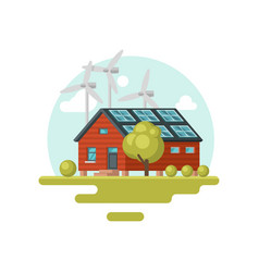 living house with solar panels on roof and wind vector image