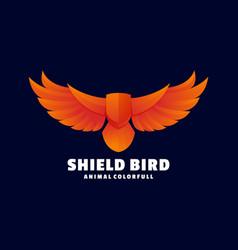 logo shield bird gradient colorful style vector image