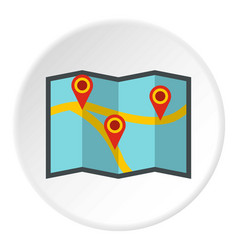 map with pointer icon circle vector image