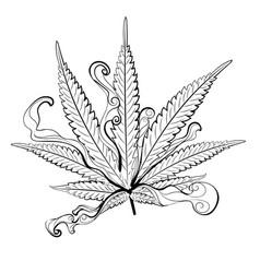 Marijuana leaf in black and white vector