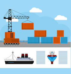 Maritime shipping and logistics vector