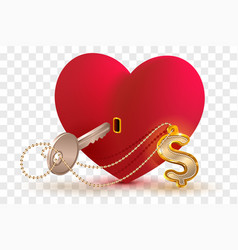 money dollar is key to heart of your beloved red vector image
