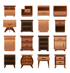 nightstand icons set cartoon style vector image