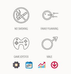 No smoking family planning and game joystick vector