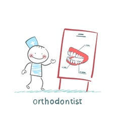 Orthodontist tells presentation about teeth vector