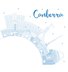 Outline canberra australia city skyline with blue vector