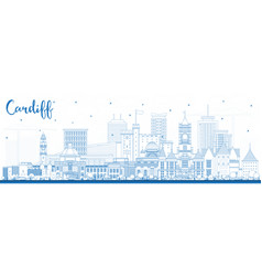 outline cardiff wales city skyline with blue vector image