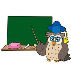 owl teacher with blackboard vector image