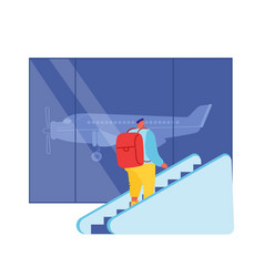 Passenger male character with backpack going up by vector