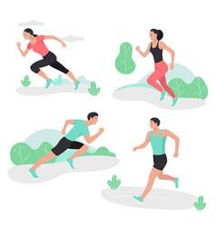 People running sport sprint men and women vector