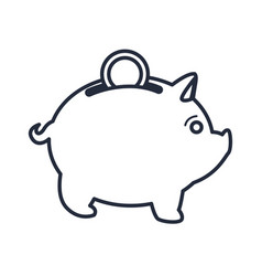 Pig bank with coin money box investment vector