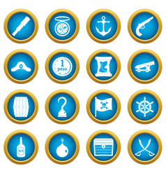 pirate icons blue circle set vector image