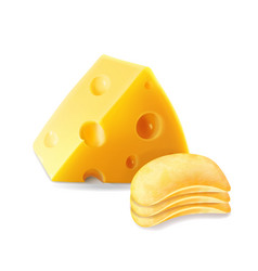 Potato chips stack with cheese isolated vector