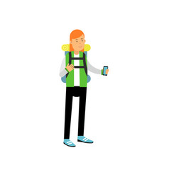 Red-haired girl in camping outfit with backpack on vector