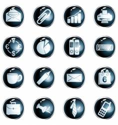 Round black high-gloss office buttons vector