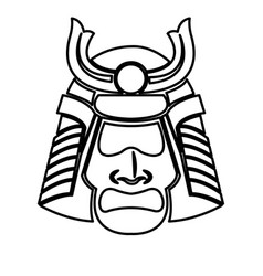 samurai face mask japanese warrior image line vector image