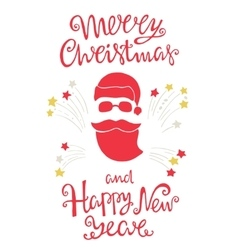 Santa and handdrawn lettering for greeting cards vector image