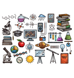 Science and education sketch icons vector