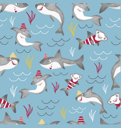 Seamless pattern background with funny vector