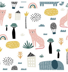 seamless pattern with kids style cat elephant vector image