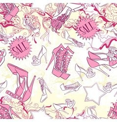 Seamless pattern with shoes and fashion vector image