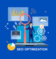 Seo optimization man with magnifier on laptop vector