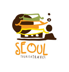 Seoul travel logo template hand drawn vector