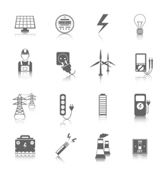 Set electricity icons vector