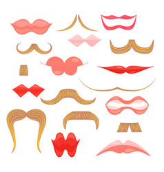 set with flat icons of moustaches and lips vector image