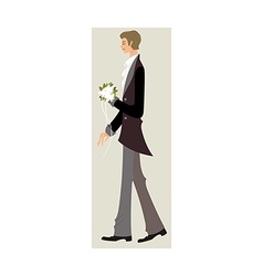 Side view of man standing with bouquet vector