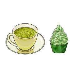 Sketch cup of mathca tea cupcake vector