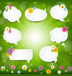 speech bubble big set with grass border vector image
